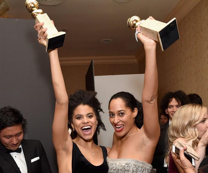 Winners are grinners! Zazie Beetz, who is part of the Golden Globe winning show *Atlanta*, strikes pose with fellow Globe winner Tracee Ellis Ross.