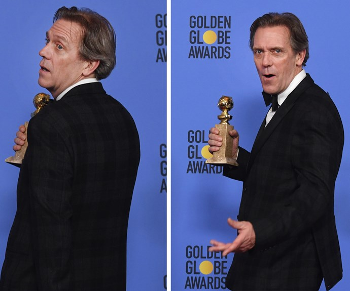 Hugh Laurie seems pretty chuffed with his new accessory. The actor won the gong for Best Performance by an Actor in a Supporting Role in a Series, Limited Series or Motion Picture Made for Television for his role in *The Night Manager*.