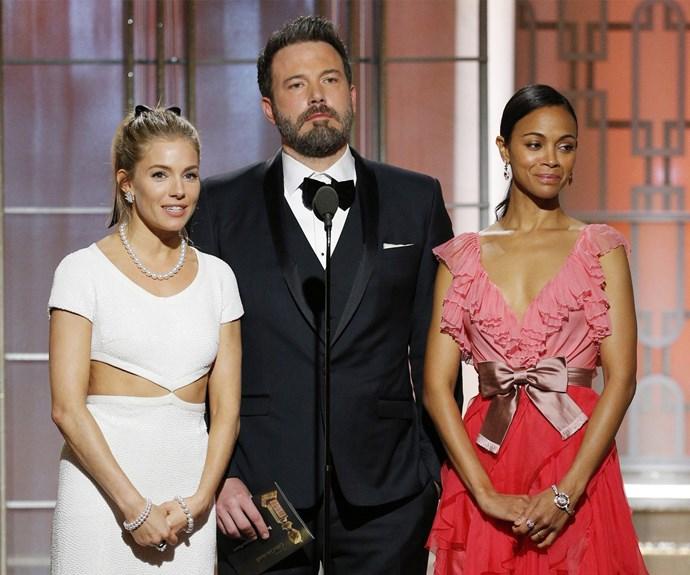 Sienna Miller, Ben Affleck and Zoe Saldana take to the stage.