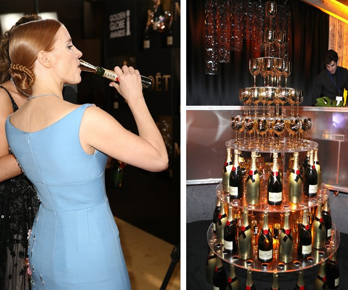 Jessica Chastain makes the most of the flowing Moet, and we don't blame her!