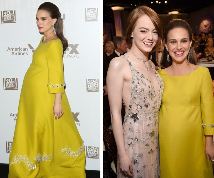 Glowing and gorgeous! *Jackie* star Natalie Portman, who is pregnant with her second child, catches up with Best Actress winner, Emma Stone.