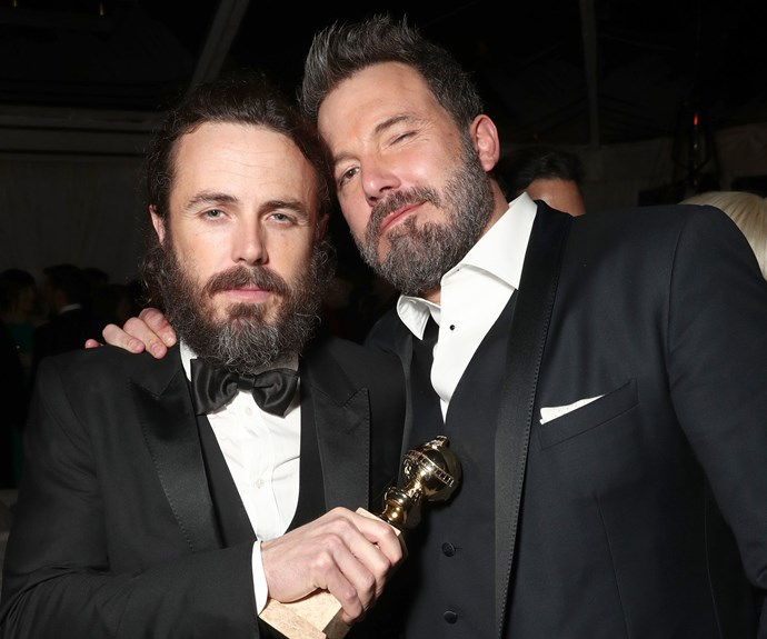 That's one proud big brother! Ben Affleck, 44, hugs it out with little bro Casey, 41, who won the Best Actor award for his role in *Manchester by the Sea*.