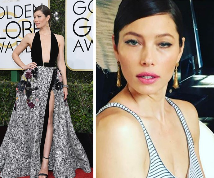 "Before and after: Thank you Jessica Biel for keeping it real! The actress, pictured at the start of the night on the left, took to Instagram to share this hilarious selfie and mused: ""So, libations before noon were a bad idea?...#goldenglobespregame."""