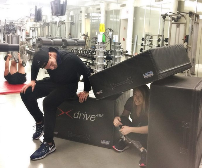 "Blake Lively is ALL of us hiding from her trainer in a makeshift fort. ""#FitnessFriday current mood. @donsaladino gives me reason to hide!"" the new mother-of-two shared."