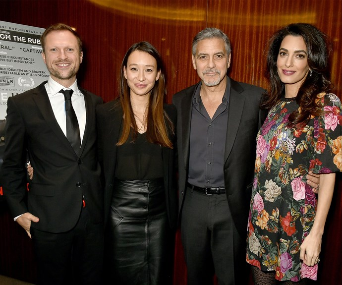 The couple were at a special Netflix screening of *The White Helmets*. Here, they pose with the documentary creators Orlando von Einsiedel and Joanna Natasegara.