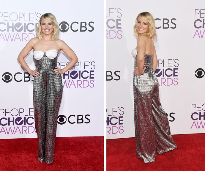 The belle of the ball! Two-time nominee Kristen Bell leads the red carpet in a glitzy silver jumpsuit.