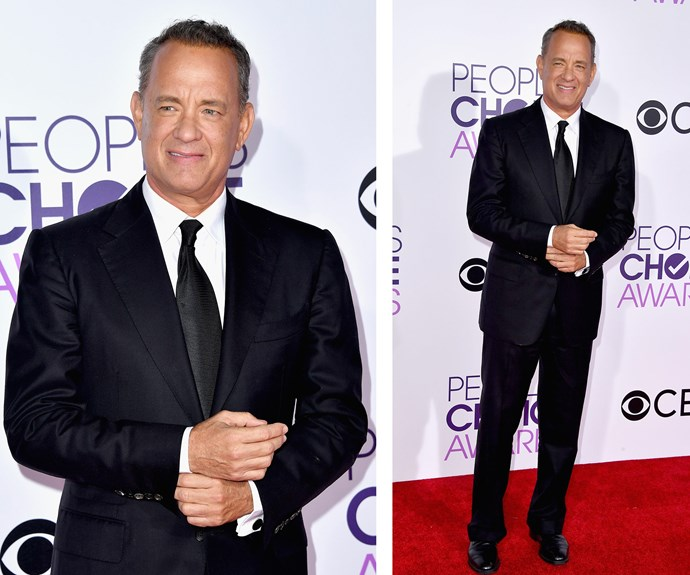 Tom Hanks, whose up for three PCAs this evening, puts on a dapper display.