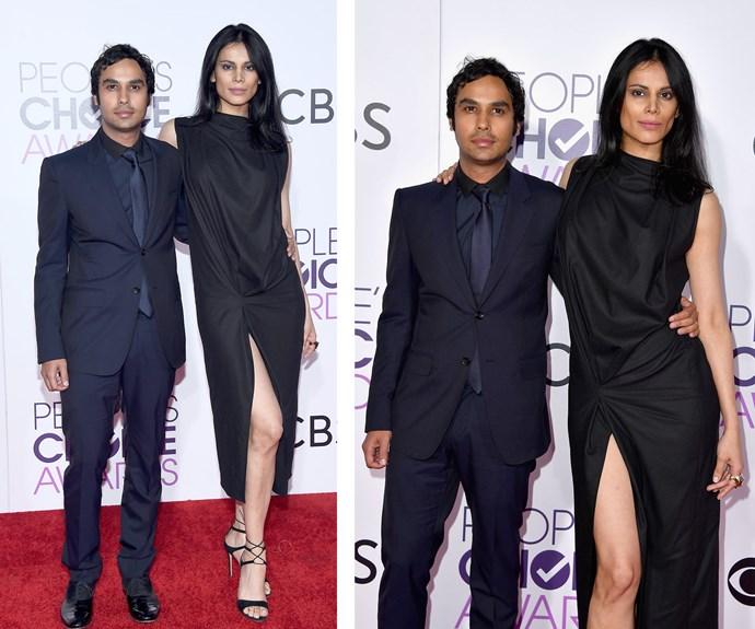Talk about a Big Bang! TV star Kunal Nayyar and model wife Neha Kapur make a stunning couple in matching moody hues.