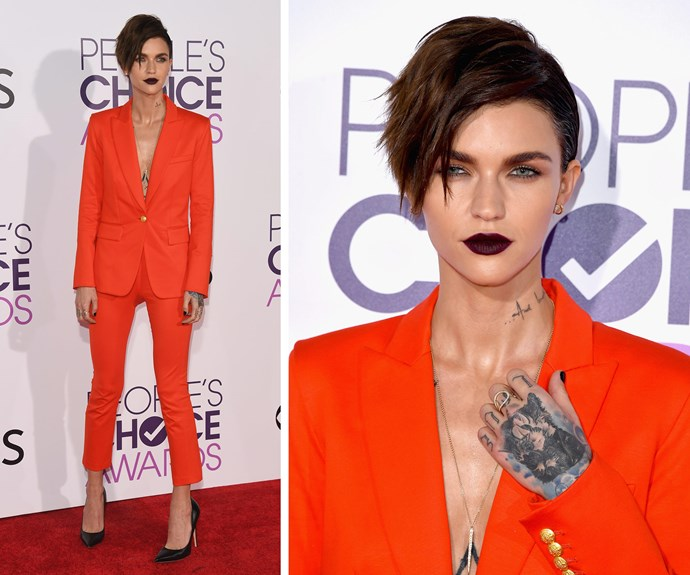 Orange really is the new black for our Aussie siren, Ruby Rose.