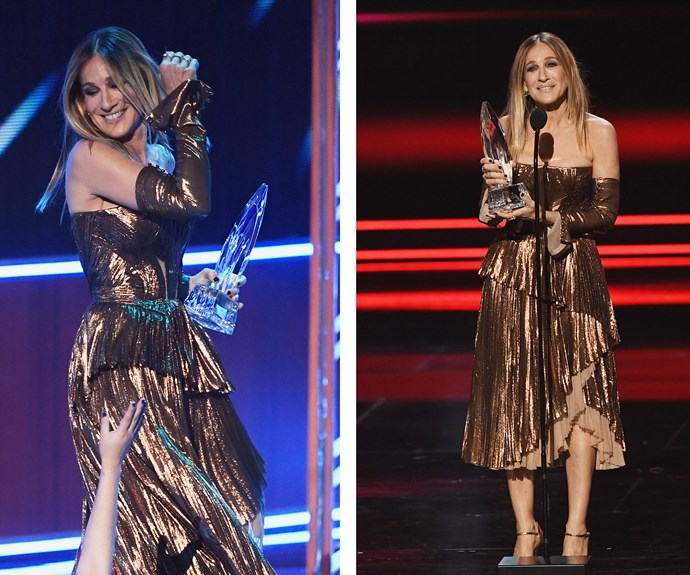 Golden girl Sarah Jessica Parker busts a move as she accepts the award for Favourite Premium Series Actress.