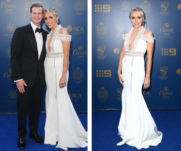 "We spy a diamond ring! Has Steve Smith popped the question to long-time partner Dani Willis? According to her, the sparkler is simply an accessory to her angelic look. ""The rings are on loan, this one just looked best on this finger,"" she told *The Daily Telegraph*. **WATCH as the stars arrive in the next slide!**"