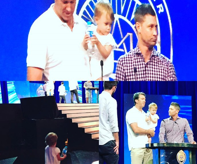 """""""Just incase u wanted to see some behind the scenes #practiceruns,"""" shared mum Sara of the couple's daughter Madison helping out on stage."""
