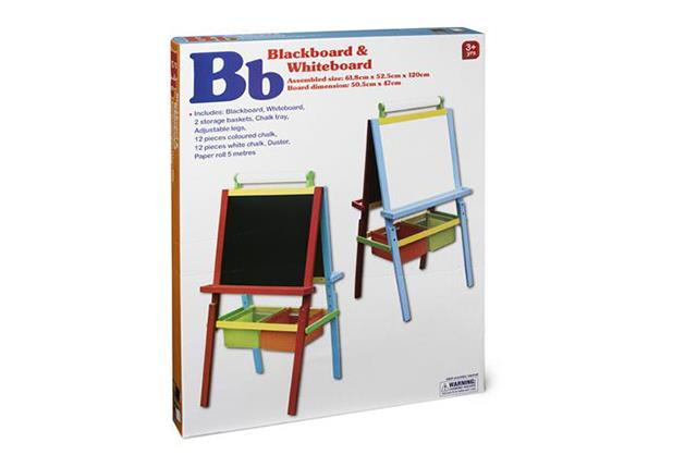 ***A-Z blackboard and whiteboard $29 available at Kmart***   Encourage their drawing and writing skills with this fun blackboard and whiteboard set that comes paced with makers, chalk, erasers  and everything else you need.