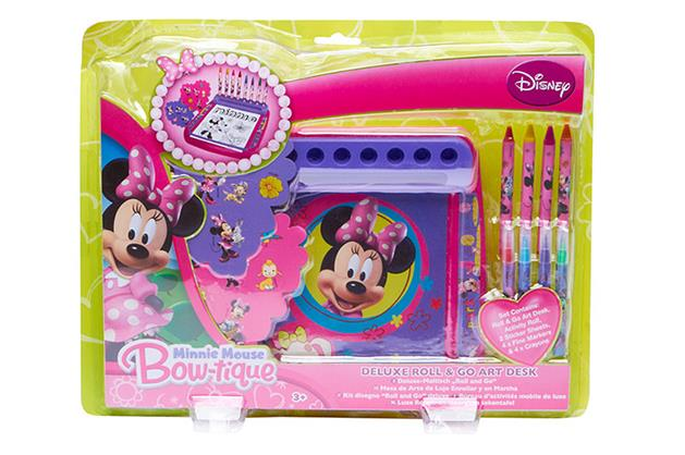 ***Minnie Mouse Bowtique $10 available at Target*** (3yrs+)   Promote creativity for children with the Disney Minnie Mouse Bowtique Deluxe Roll and Go Art Desk. The set includes: 1 roll and go art desk, 1 activity roll, 2 sticker sheets, 4 fine markers and 4 crayons.