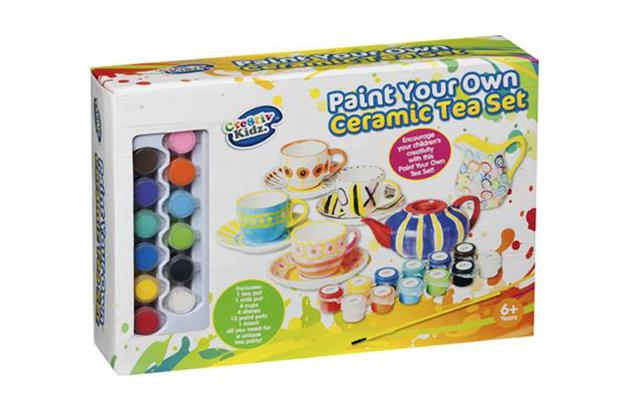 ***Cre8tiv Kidz Paint Your Own Ceramic Tea Set $15 available from Kmart***   Unleash their inner Picasso with this paint your own tea set. The set includes 1 tea pot, 1 milk pot, 4 cups, 4 dishes which is your child will need for a unique tea party!