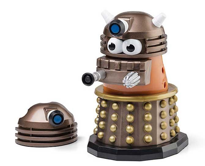"***DOCTOR DAD***   Mr Potato Head got caught up in the Dr Who 50th anniversary celebrations and turned himself into a Dalek. Use the detachable pieces to build [Mr Potato Head](http://www.thinkgeek.com/product/1791/?srp=1/|target=""_blank"") into his tank-like Dalek protective shell, and he'll be an unstoppable Extermi-'tater'."