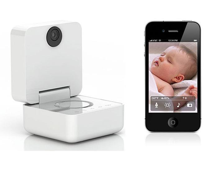 "***BIG BROTHER IS WATCHING***  Well actually, big daddy is! The [Withings Smart Baby Monitor](http://www.thinkgeek.com/electronics-gadgets/spy-security/?icpg=gy_ed6a&pfm=Search&t=withings%20smart%20baby%20monitor%20for%20iphone/|target=""_blank"") works with your iPhone, iPod Touch or iPad to let you watch (zoom, night vision) bubs, listen in, play baby lullabies, talk soothingly from across the house or even while you're out, activate a nightlight and get text alerts for motion, sound and temperature changes!"