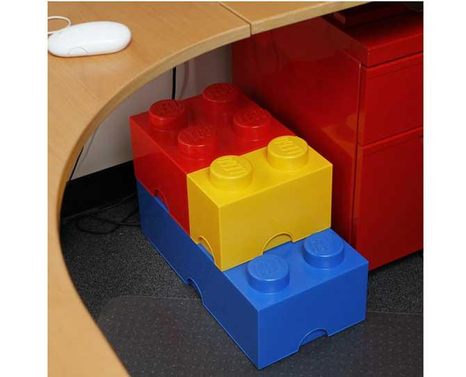 UNDER $50  Stackable storage boxes that look like giant lego blocks – geektastic! If you have a house full of games and toys, these Lego Storage Bricks, up to $49.95 from thinkgeek.com, will be just what you need.