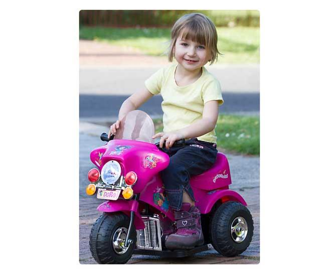 OVER $50  Dora or Diego Electric Ride-on Trikes, $69, from catchoftheday.com.au are a great price for a motorised ride-on with accelerator pedal. It also features headlights and plays music. Go go!