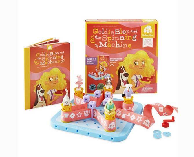 UNDER $50  Bucking against the tradition of girls' toys being just about the sorts of things we think girls should be into – cooking, shopping, cleaning, dressing up – the Goldie Blox construction set and book series Goldie Blox & the Spinning Machine, $32.99, teaches girls about building and constructing. We love!