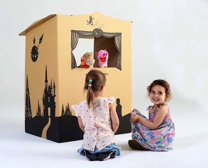 OVER $50  Encourage imaginative storytelling with this versatile cardboard puppet theatre which constructs and flat packs in minutes! You can use the light and screen to create a shadow puppet theature or remove for regular Puppetbox, $79 from tinyfolk.com.au