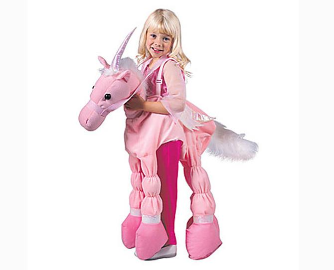 OVER $50  Dress-ups are key kickstarters for kids' role-playing games and what little girl doesn't want to be a pink unicorn at least once in her life? The Pink Ride-a-Unicorn Child's Costume, $51, is made to size order.