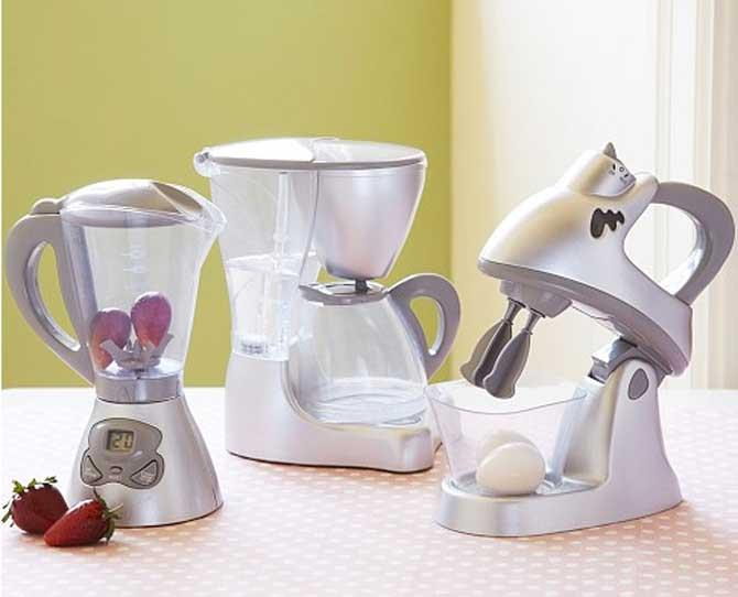 UNDER $50  Your mini Martha Stewarts will enjoy whipping up imaginary meals with true-to-life appliances sized just for them. Mixer, Blender and Coffee Maker make realistic sounds and feature an LED displays and flashing lights. $36 from potterybarnkids.com.au