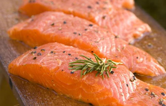 **Salmon** <br><br> A serving of salmon amps up the body's natural levels of the sleep-inducing hormone melatonin, which is released when the brain senses darkness. The fish is a good source of vitamin B6, crucial to melatonin production.