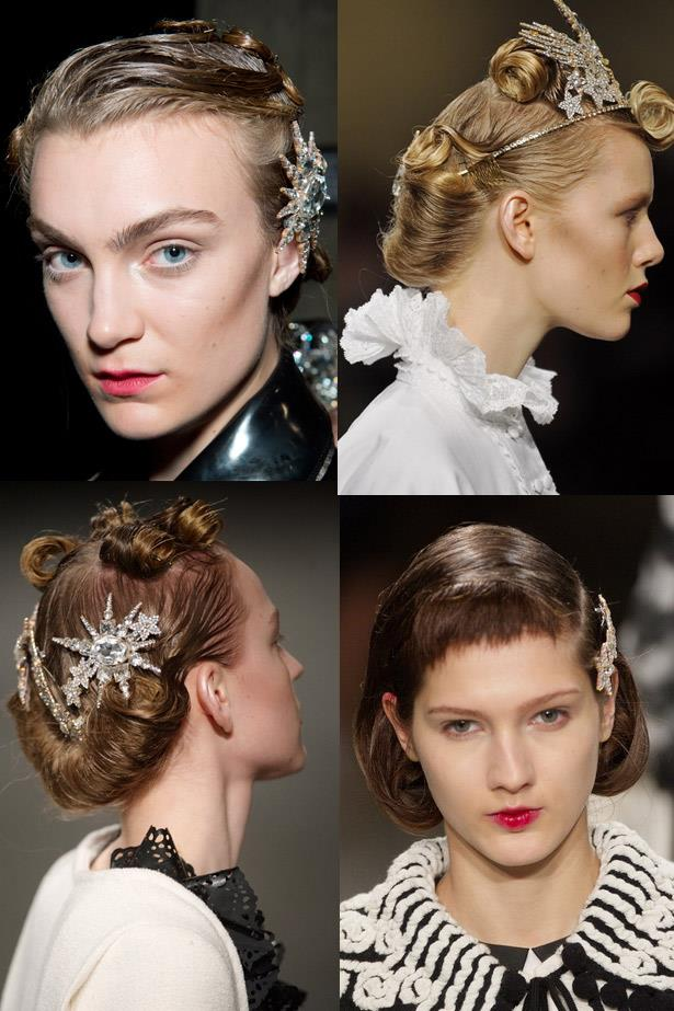 <strong>Take flight accessories</strong><br> Remember the humble butterfly clips you attached to all of your head? Of course you do… Hair accessories are still all that but the new version is all-grown-up. <br> <em>Runway: Meadham Kirchhoff4</em>