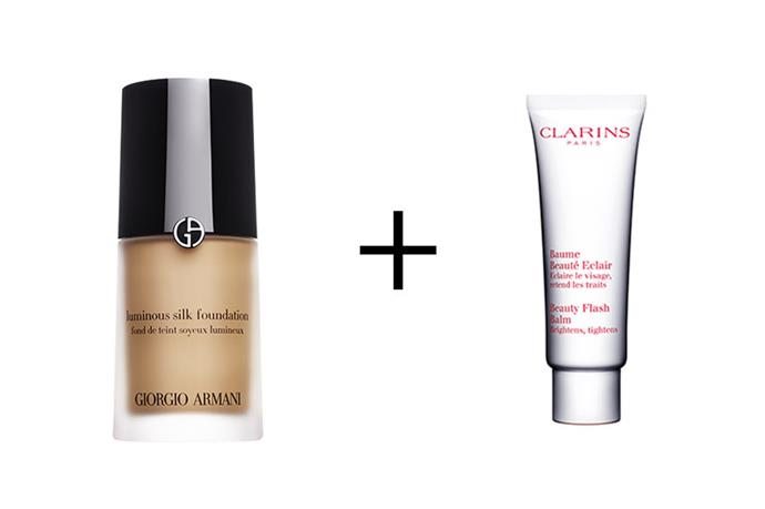 """**Mixing foundation with moisturiser** <br><br> """"I mix just a little Beauty Flash Balm in with Armani's Luminous Silk Foundation. The foundation already has a dewy base, but combining it with the balm just gives the best, glossy, luminous texture to the skin. It's such a great effect,"""" says makeup artist Rachael Brook.  <br><br> Clarins Beauty Flash Balm, $60, at [Adore Beauty](https://www.adorebeauty.com.au/clarins/clarins-beauty-flash-balm.html