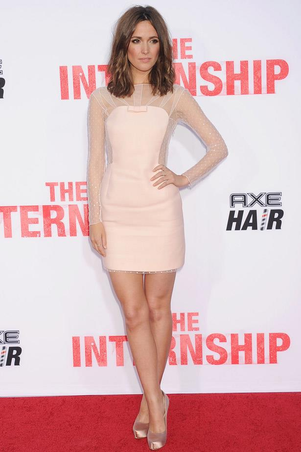 Sheer panelling on Rose Byrne's nice Emilio Pucci dress made it just a little bit naughty, too.