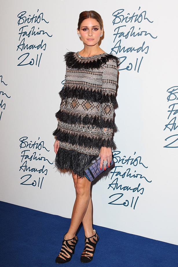 Usually known for her understated style, Palermo embraced over-the-top embellishments and textures at the 2011 British Fashion Awards.