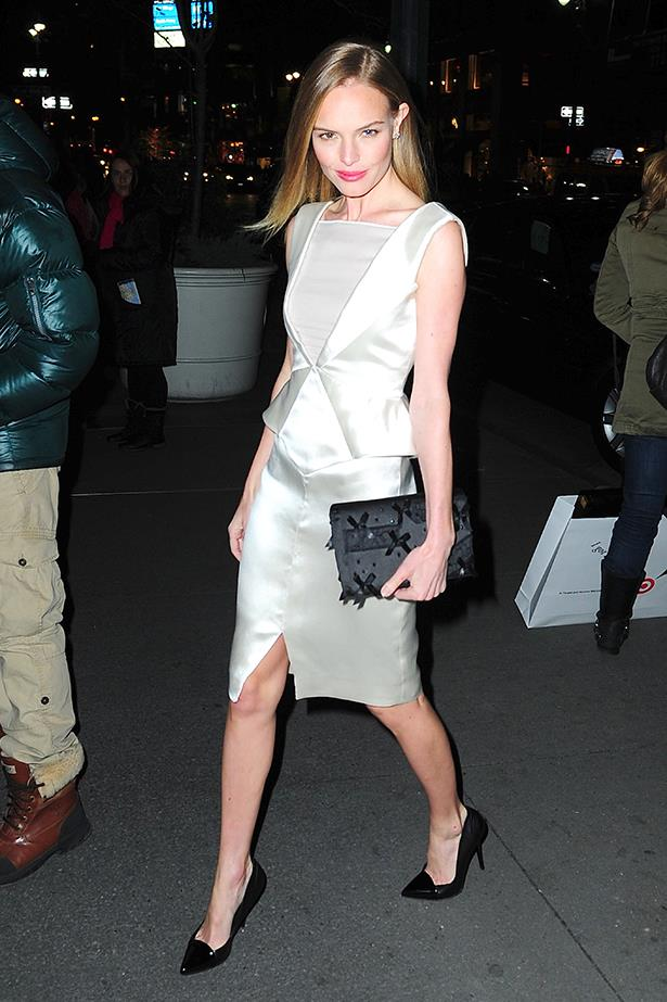 Kate vamps up a chic Emilio Pucci dress with Proenza Schouler pumps and Prabal Gurung for Target and Neiman Marcus clutch.