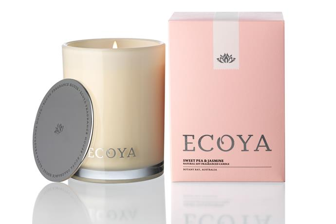 """<p><strong>Ecoya in Sweet Pea & Jasmine</strong></p> <p>Nothing makes you happier than perfectly folded white linen and Ralph Lauren catalogues. When you can feel yourself beginning to vibrate and race inside, you whisper affirmations. Approx $39.95, <a href=""""http://www.ecoya.com"""">ecoya.com</a></p>"""