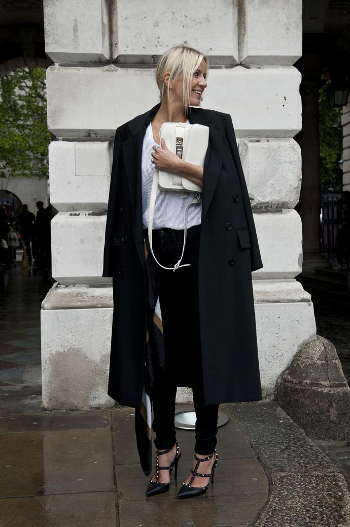 An oversized coat is the quickest way to pull an ensemble together with aplomb. When the temperature rises, wear it with a man-style belt as a dress.