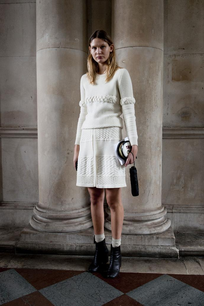 Re-think everything you thought about knits being exclusively for the winter months; you can work a woollen skirt or ankle socks in spring with ease.