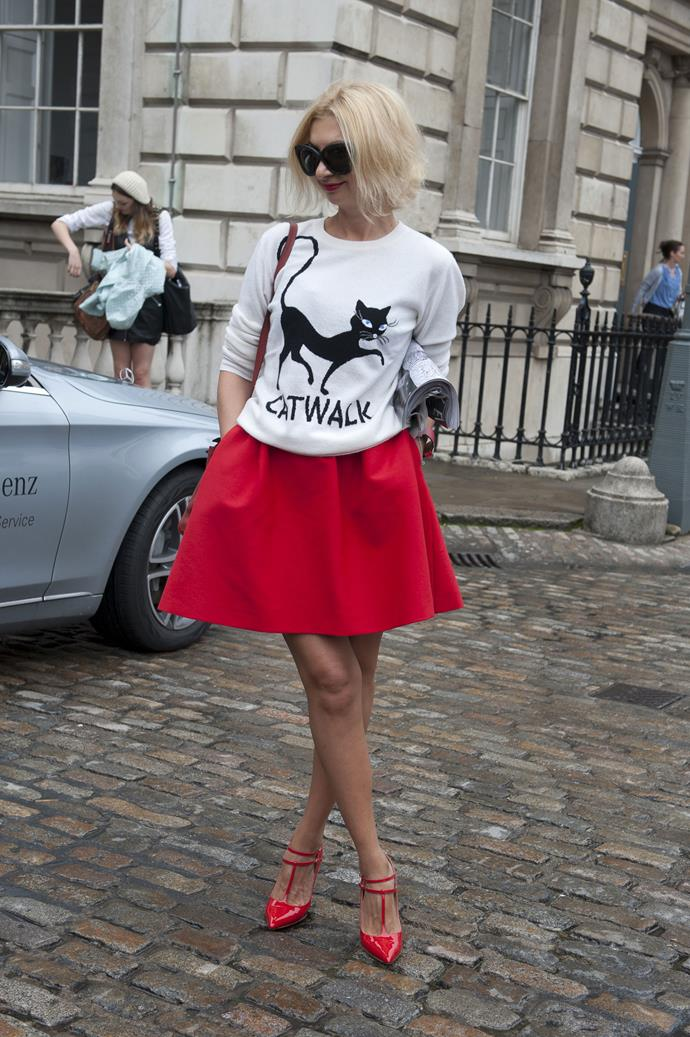 From French bulldogs at the Mulberry show to Choupette's feline antics, animals are ruling the fashion scene. Pay homage with a tongue-in-chic sweater.