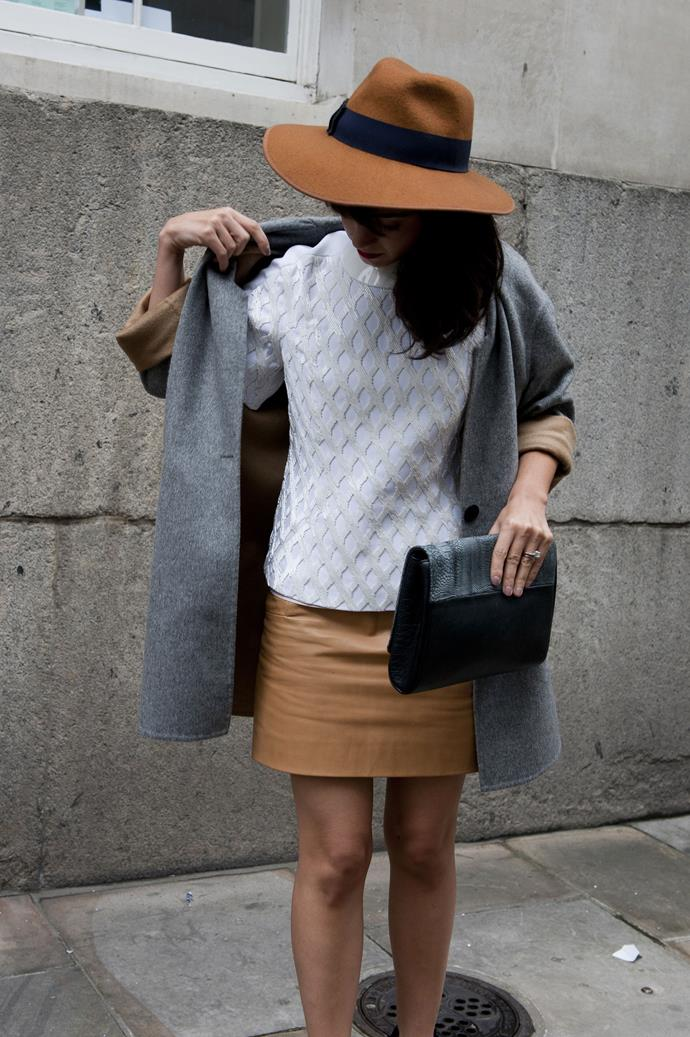 The trick to a tonal look? Opting for clean, boxy shapes with a point of interest, such as this netted sweater.
