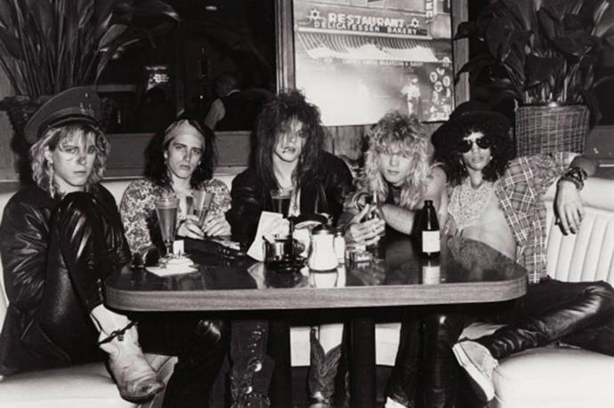 We doubt anyone but the Guns n' Roses crew could make kicking back at a diner look so cool. Duff McKagan, Izzy Stradlin, Axl Rose, Steven Adler and Slash formed the group in 1985 and here they are pictured in Los Angeles that same year, and the same month (June) they embarked on their first official tour of the US. GNR would go on to sell millions and break the hearts of groupies the world over.