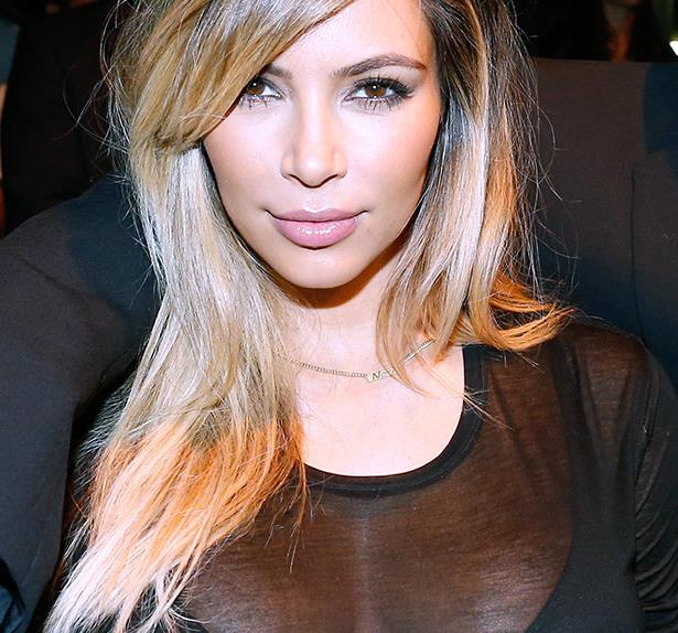 Kim Kardashian with blonde highlights