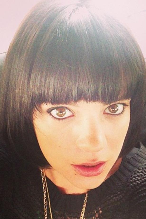 Fresh out of the salon, Lily Cooper [nee Allen] has gone back to black with fresh colour and a blunt bob cut.