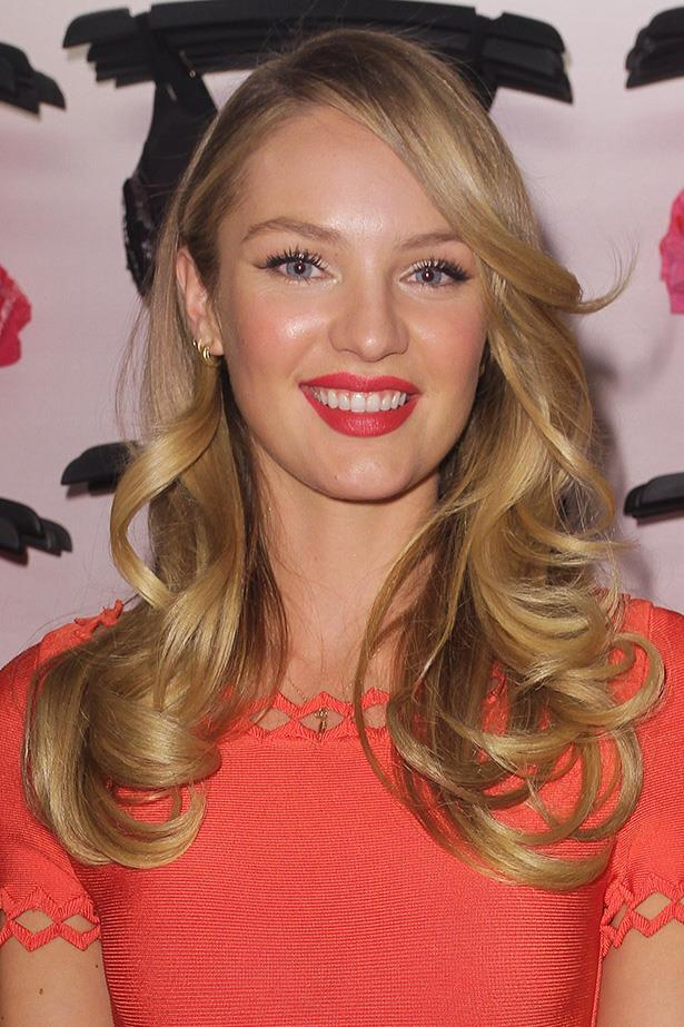 A more demure Candice celebrates Valentine's Day this year with a flashy and ever-luminous skin.