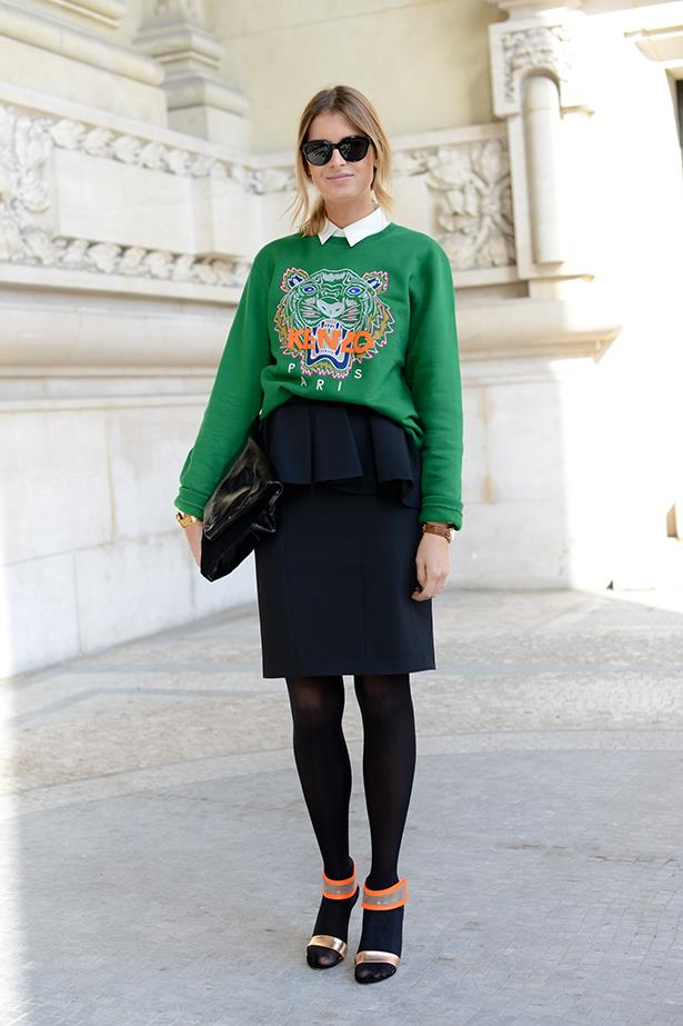 Kenzo jumpers can easily be dressed-up with the help of a collared shirt and classic pencil skirt.