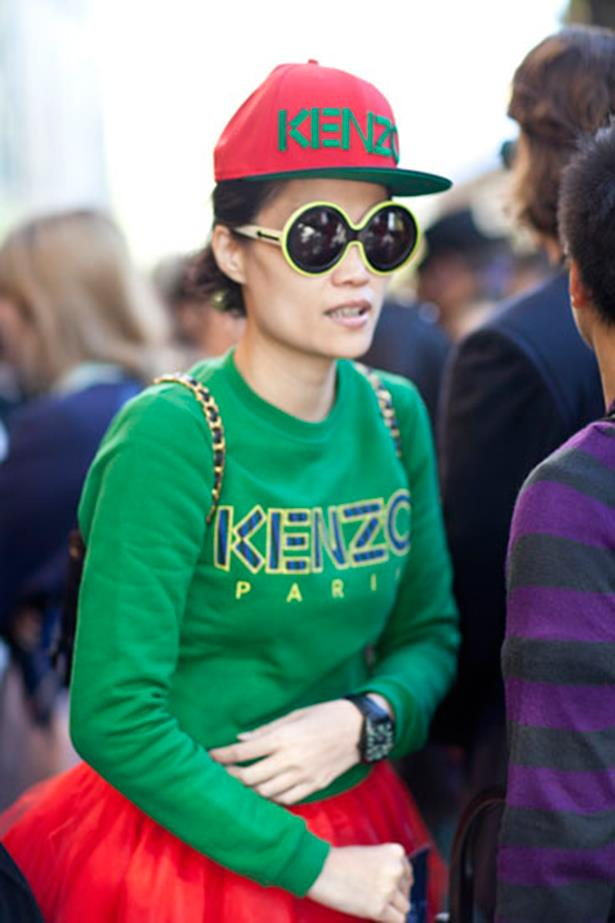 A look not for the faint hearted. Kenzo's slogan jumper and matching hat worn together.