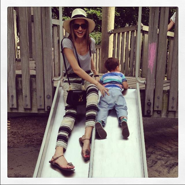 """<p>""""So much fun with my little love""""</p> <p><strong>FYI</strong>: Kerr says even running around after her son Flyn is a workout in itself</p>"""