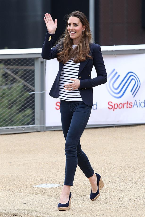Duchess Kate wears Smythe blazer, Ralph Lauren top and wedges by Stuart Weitzman