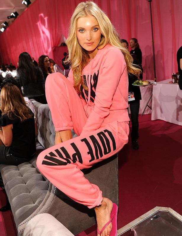 Elsa Hosk looks comfortable backstage in a Victoria's Secret lounge-wear