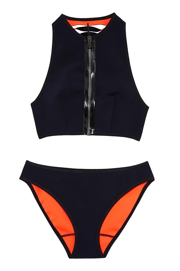 "<p>New wave: whether it's surfboards at sunrise or catching the afternoon sun, sporty brights fit right in</p> <p>Bikini, $450, Dion Lee, <a href=""http://www.dionlee.com"">dionlee.com</a></p>"
