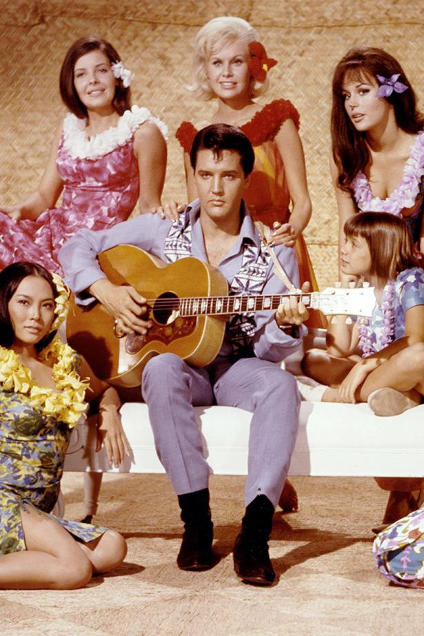 <p>Fantasy island: Hawaii may not be on the cards, but you can still indulge in some hibiscus print</p> <p>Rock royalty Elvis Presley wears topical prints</p>