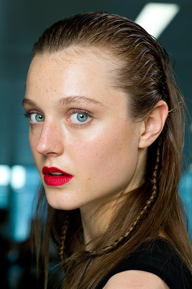 The matte red lip is girls-night-out perfection. Outline with a darker red pencil to create depth, add a touch of kohl eyeliner and lashings of mascara.